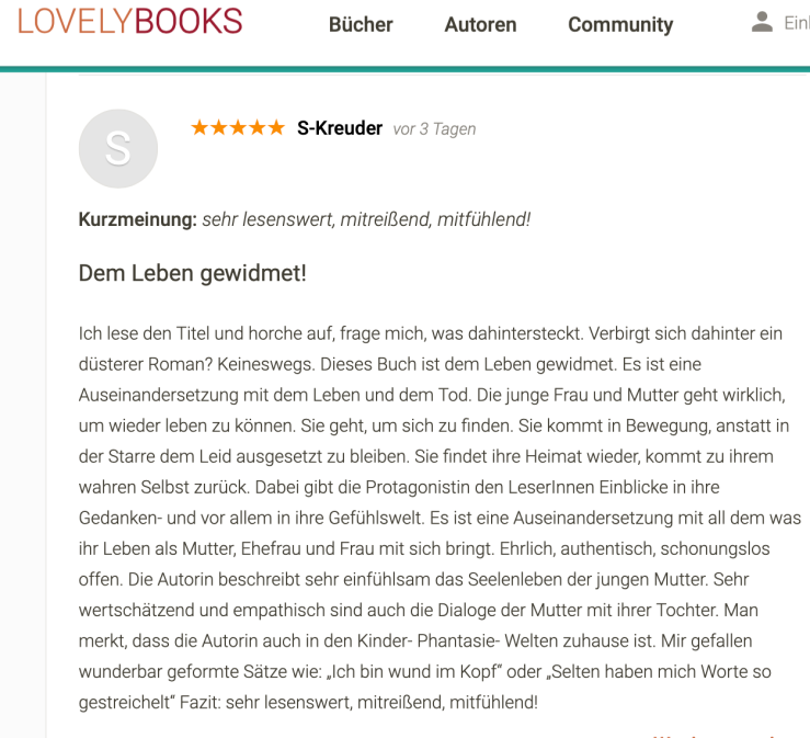 lovelybooks Rezension